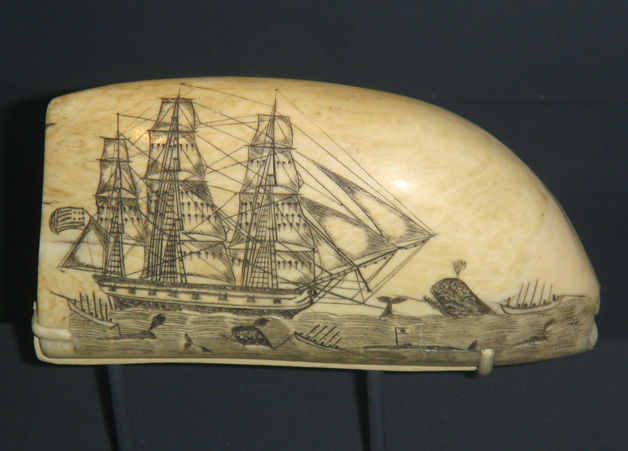 Whaling scene carved by Edward Burdett (Nantucket Whaling Museum)