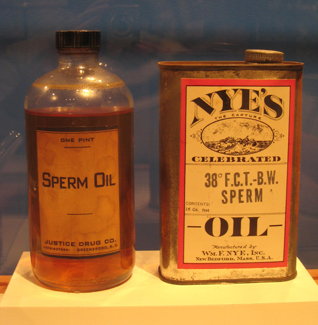 Sperm oil bottle and can (New Bedford Whaling Museum)