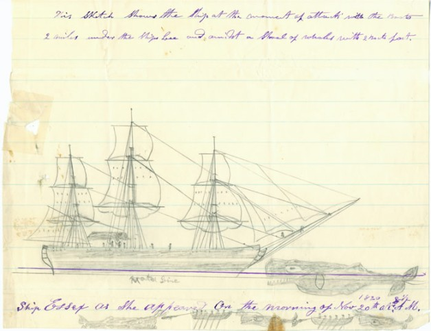 The Essex being struck by a whale on November 20, 1820 (sketched by Thomas Nickerson)