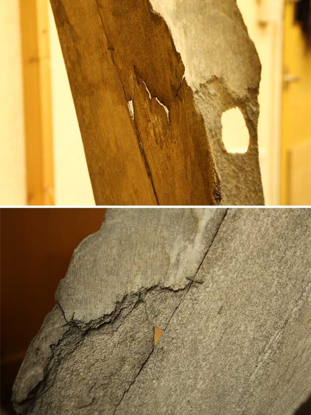 Close up of breaks, delamination, holes and old wire repairs